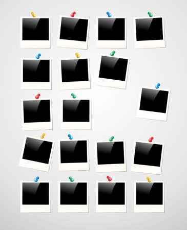 Retro Polaroid cadre photo sur fond blanc. fichier vectoriel couches pour une manipulation facile et la coloration personnalisée. Banque d'images - 20602539