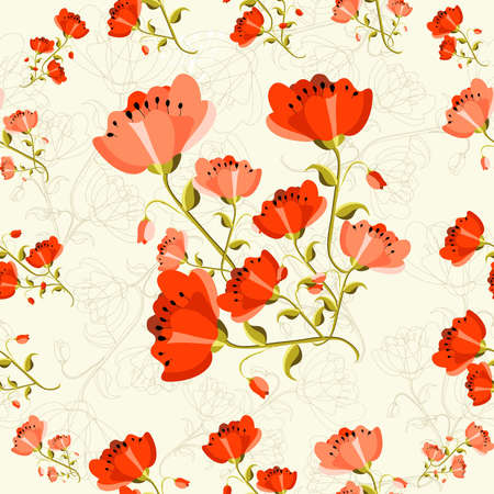 Cute seamless pattern poppy flower background. Vector illustration layered for easy manipulation and custom coloring. Vector