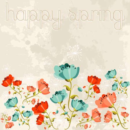 Cute spring season poppy flower background. Vector illustration layered for easy manipulation and custom coloring. 向量圖像