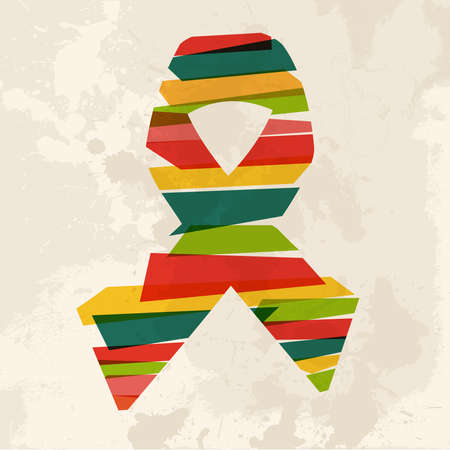 hiv: Diversity colors transparent bands ribbon over grunge background. This illustration contains transparency and is layered for easy manipulation and custom coloring.