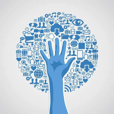 Internet-Technologie-Konzept Hand Baum Icons. Vektor-Illustration für einfache Handhabung und individuelle Färbung geschichtet. Standard-Bild - 20602563