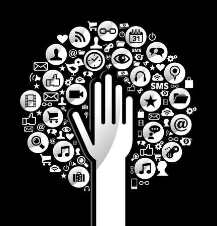 Social media netwerken concept van de hand boom pictogrammen instellen. Vector illustratie gelaagd voor eenvoudige manipulatie en aangepaste kleuren. Stockfoto - 20602535