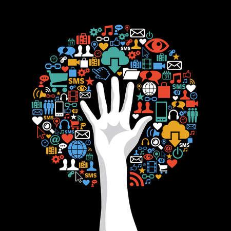 Concepto de la tecnología de comunicación iconos globales árbol mano conjunto. Ilustración vectorial en capas para la manipulación fácil y colorante de encargo. Foto de archivo - 20602557