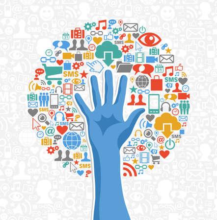 interaccion social: Red de comunicaci�n concepto iconos del �rbol de mano Sociales establecen. Ilustraci�n vectorial en capas para la manipulaci�n f�cil y colorante de encargo.