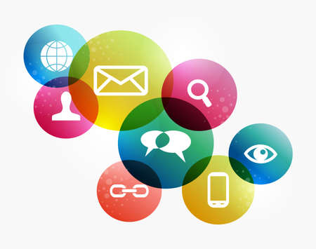 소셜 미디어 아이콘의 다채로운 서클 레이아웃에서 설정합니다. EPS10 파일 버전. 이 그림은 투명 필름을 포함하고 쉬운 조작 및 사용자 정의 채색 계층 일러스트
