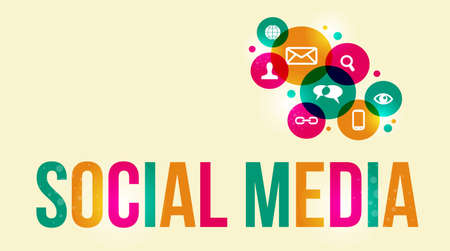 social media marketing: Social media background of the icons vector.  This illustration contains transparencies and is layered for easy manipulation and custom coloring.