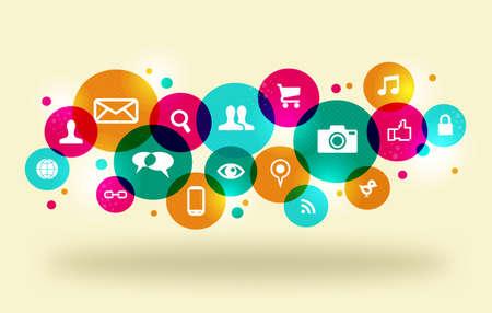 interaccion social: Iconos de los medios sociales establecido en la disposición círculo colorido. Esta ilustración contiene transparencias y es en capas para la manipulación fácil y colorante de encargo.