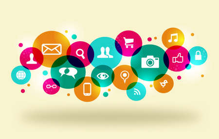 web marketing: Social media icons set in colorful circle layout.  This illustration contains transparencies and is layered for easy manipulation and custom coloring. Illustration