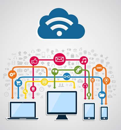 Cloud Computing Diagrama De Redes. Ilustración Vectorial En Capas ...