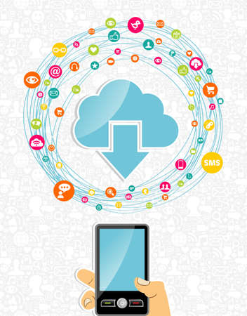 holding smart phone: Cloud computing network diagram hand holding smart phone. Vector illustration layered for easy manipulation and custom coloring. Illustration