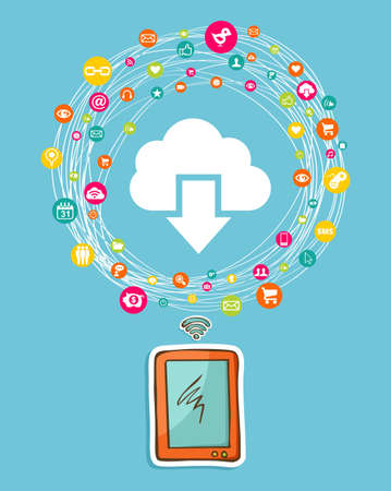 international organization: Cloud computing network diagram with hand drawn smartphone. Vector illustration layered for easy manipulation and custom coloring.