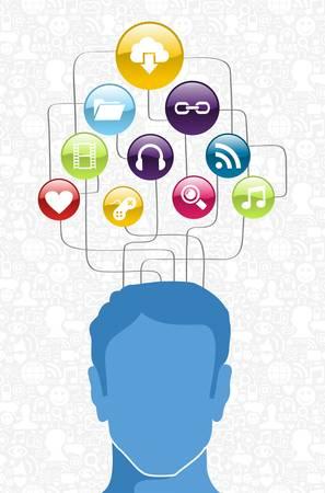 cel: Social media network man head diagram. Vector illustration layered for easy manipulation and custom coloring. Illustration