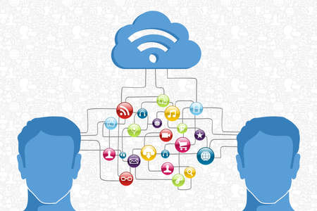 cel: Cloud computing network men interaction diagram. Vector illustration layered for easy manipulation and custom coloring.
