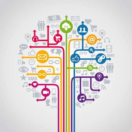통신: 소셜 미디어 네트워크 개념 트리의 아이콘을 설정합니다. 벡터 일러스트 레이 션 쉬운 조작 및 사용자 지정 색상에 계층.