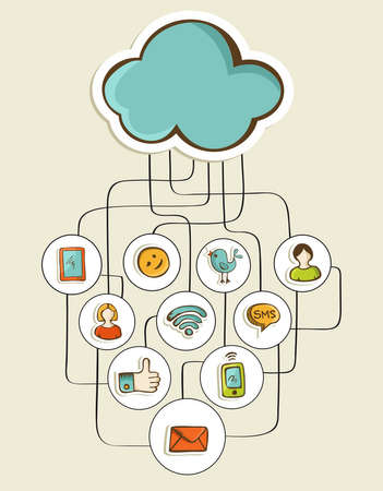Cloud computing hand drawn social network diagram. Vector illustration layered for easy manipulation and custom coloring. Vector