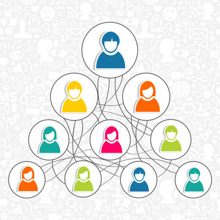 Diversity social media network people organization diagram. Vector illustration layered for easy manipulation and custom coloring. Stock Vector - 20603006