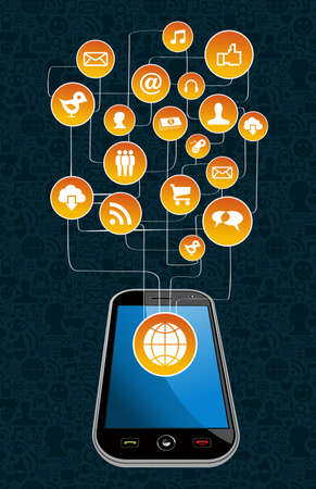 Social media network with icon set diagram and smartphone. Vector illustration layered for easy manipulation and custom coloring. Vector