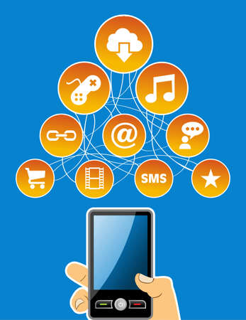 holding smart phone: Cloud computing social media network icon set diagram with hand holding smart phone. Vector illustration layered for easy manipulation and custom coloring. Illustration