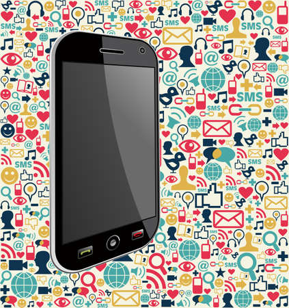 Smart phone generic on color icons background. Vector file layered for easy manipulation and customisation. Vector