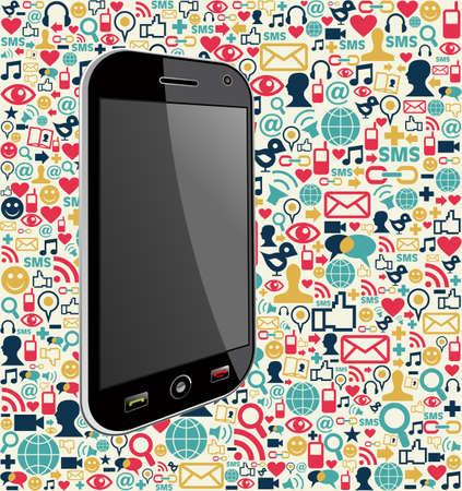 Smartphone generieke op kleur pictogrammen achtergrond. Vector bestand gelaagd voor eenvoudige manipulatie en maatwerk.