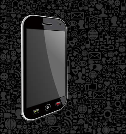 Iphone generic on black icons background. Vector file layered for easy manipulation and customisation. Stock Vector - 20602786