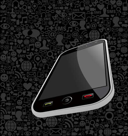 customisation: Smart phone generic on black icons background. Vector file layered for easy manipulation and customisation.