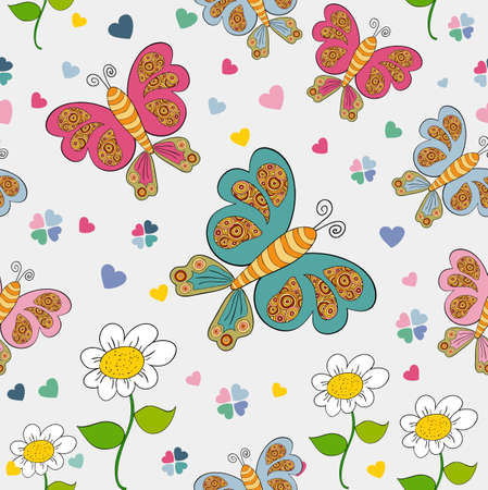 Spring time seamless pattern with flower and butterfly background. Vector illustration layered for easy manipulation and custom coloring. Vector