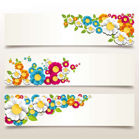 Colorful spring flowers banner background. Vector illustration layered for easy manipulation and custom coloring. Vector