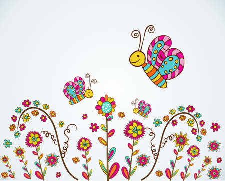 Colorful spring flower and butterfly hand draw background. Vector illustration layered for easy manipulation and custom coloring.