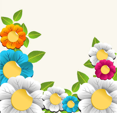 accent abstract: Elegant spring color flower card background.  Vector illustration layered for easy manipulation and custom coloring.