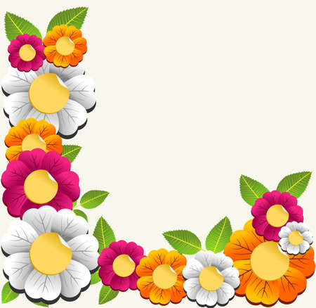 Spring color flower card background.  Vector illustration layered for easy manipulation and custom coloring.