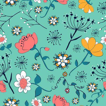 초록: 빈티지 꽃 원활한 패턴입니다. 벡터 일러스트 레이 션 쉬운 조작 및 사용자 지정 색상에 계층. 일러스트