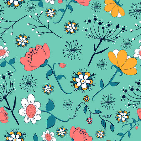 Vintage flowers seamless pattern. Vector illustration layered for easy manipulation and custom coloring. Vector