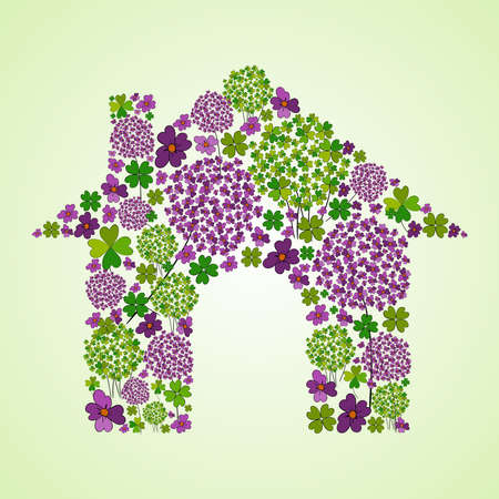 summer house: Colorful spring flower icons texture in green house icon shape composition background. Vector illustration layered for easy manipulation and custom coloring.