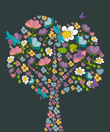 Colorful flower and dragonfly spring tree shape. Vector illustration layered for easy manipulation and custom coloring. Vector