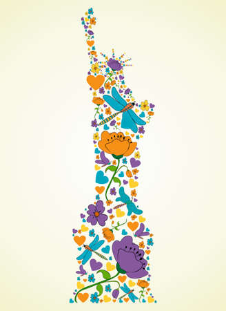 Spring flower and butterfly icons texture in New York Liberty statue skyline silhouette shape composition background. Vector illustration layered for easy manipulation and custom coloring. Vector