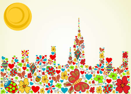 vendimia: Primavera de flores y mariposa iconos de la textura en la ciudad de Nueva York skyline silueta, forma, fondo de la composición. Ilustración vectorial en capas para la manipulación fácil y colorante de encargo.