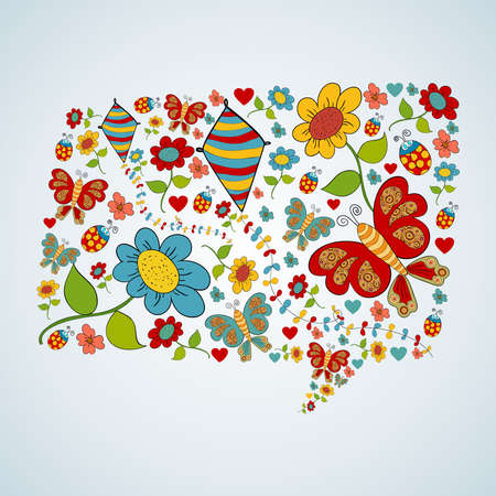 Spring flower and butterfly icons texture in social media bubble speech shape composition background. Vector illustration layered for easy manipulation and custom coloring. Stock Vector - 20603102