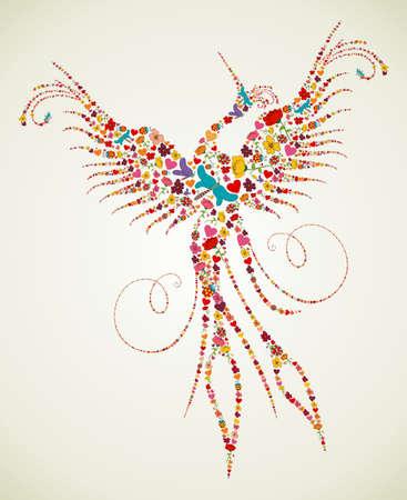 ave fenix: Primavera de flores y mariposa iconos de la textura en pheonix pájaro silueta, forma, fondo de la composición. Ilustración vectorial en capas para la manipulación fácil y colorante de encargo.