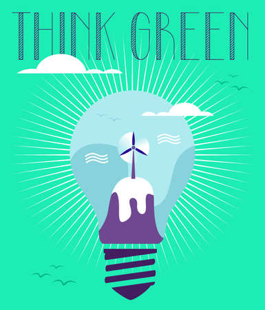 Think green world in light bulb with contemporary text background. Vector file layered for easy manipulation and custom coloring. Vector