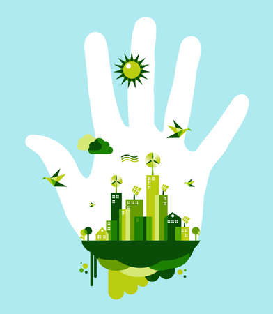 People hand and green city on blue sky background. Environmental conservation concept illustration. Vector file layered for easy manipulation and custom coloring. Vector