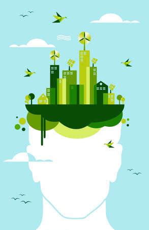 녹색 개념을 생각 : 사람의 머리와 녹색 마을 그림. 쉬운 조작 및 사용자 지정 색상을위한 계층화 된 벡터 파일입니다.