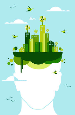 Think green concept: man head and green town illustration. Vector file layered for easy manipulation and custom coloring.