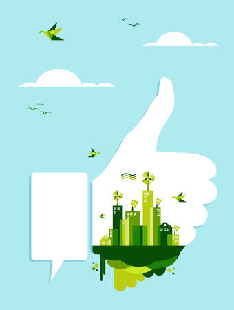 Environment conservation concept illustration: thumb up hand like with green city town on blue sky. Vector file layered for easy manipulation and custom coloring. Vector