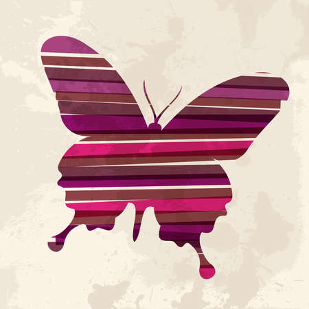 Diversity colors transparent bands butterfly over grunge background. This illustration contains transparency and is layered for easy manipulation and custom coloring. Vector