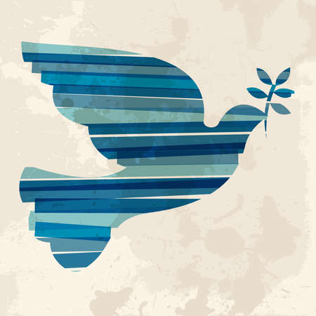 dove of peace: Diversity colors transparent bands peace dove over grunge background. This illustration contains transparency and is layered for easy manipulation and custom coloring.