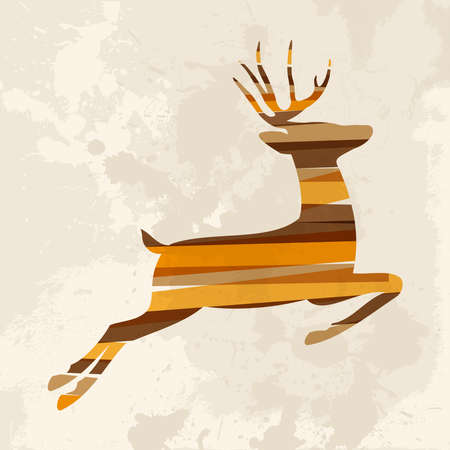 Diversity colors transparent bands reindeer over grunge background. This illustration contains transparency and is layered for easy manipulation and custom coloring. Vector
