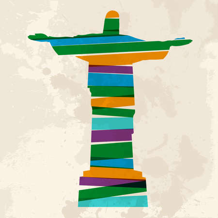 brazil: Diversity colors transparent bands Brazil monument over grunge background. This illustration contains transparency and is layered for easy manipulation and custom coloring.