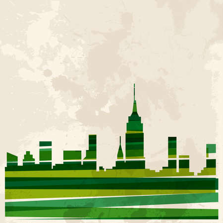 Diversity colors transparent bands green concept city over grunge background.  This illustration contains transparency and is layered for easy manipulation and custom coloring. Illustration