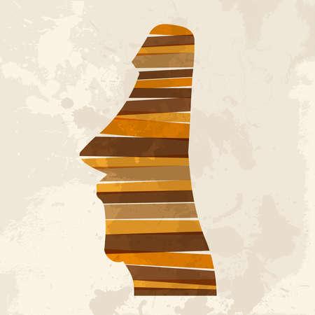 moai: Diversidad de colores bandas transparentes estatua de piedra Isla de Pascua sobre el fondo del grunge. Esta ilustración contiene transparencias y es en capas para la manipulación fácil y colorante de encargo.